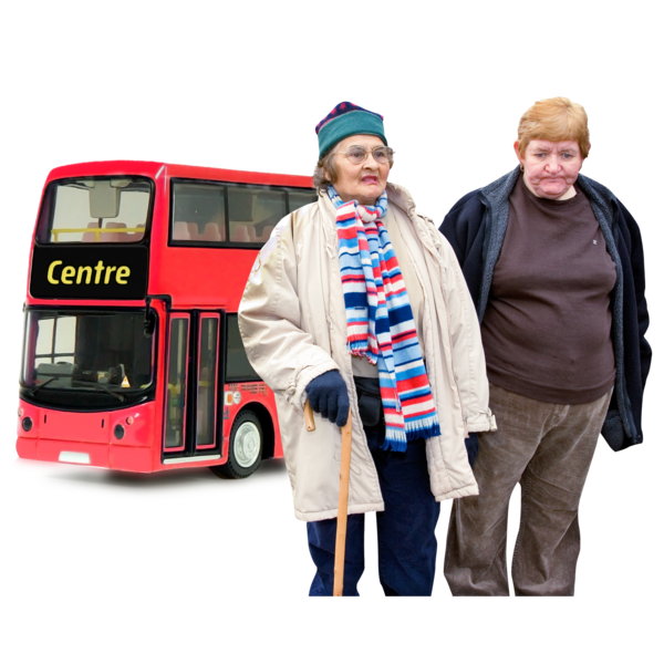 Two people standing next to a bus