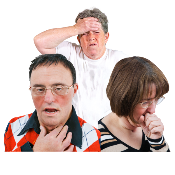 Image of typical Coronavirus symptoms: a man with a fever, a man with a sore throat, and a woman coughing