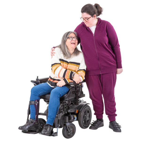A mother in a wheelchair and her daughter standing